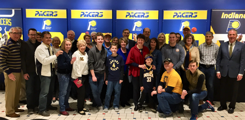 April 2019 Group photo with Allison Barber, Indiana Fever President (center, in red) and Rick Fuson, Pacers Sports & Entertainment President (far right in sport coat)...photo taken in Pacers Square